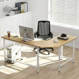 Tribesigns Modern L-Shaped Desk Corner Computer Desk PC Laptop Study Table Workstation Home Office Wood & Metal (Walnut + White Leg)