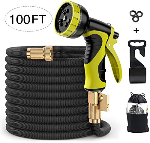 Alittle Expandable Garden Hose Pipe 100 Feet, Flexible Water Hoses Hosepipe with 9 Function Spray Nozzle, No-Kink/ 2500Dx2500D/ Solid Metal Connector/Hanging Hook/Storage Bag, Black
