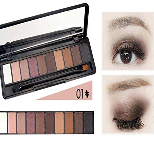 MZP Cosmétiques 10 couleurs fard à paupières maquillage nude couleur fard à paupières par purification permanente SUMI mat eye cassette pinceau , 1# classic pure land color system
