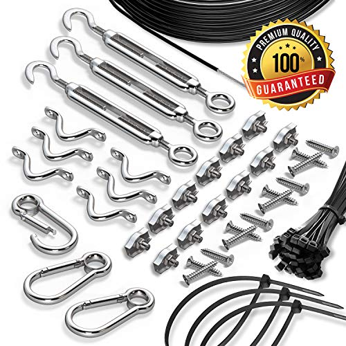String Light Hanging Kit With Zip Ties For Outdoor Patio Globes - 164 ft Stainless Steel 304 DIY Suspension Cable System - Black Vinyl-Coated Guide Wire Rope, Snap Hooks, Tension Turnbuckles, Pad Eyes