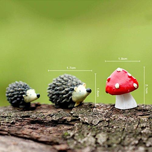 Egel Tuin - 3 stks Set Kunstmatige Mini Egel met Rode Dot Paddestoel Miniaturen Fee Tuin Mos Terrarium Hars - Standbeeld Decoratie Ornamenten Tuin Huizen Figurines Egel Decor Vlag