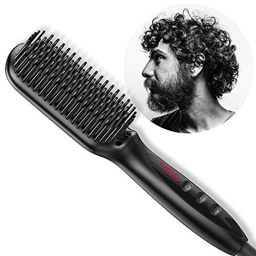 ANKIKI LED Peigne à Cheveux Droit ionique négatif Coiffeur Barbe Curly Redressant Brosse Réduire Les frisottis et la Statique Anti-brûlure pour Tous Types de Cheveux
