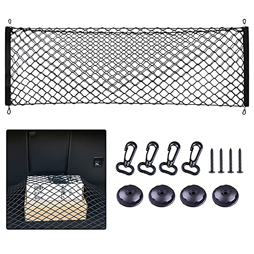 Storage Net for Car Trunk, Automotive Super Duty Cargo Net for Truck Bed Streches, Elastic Nylon Mesh Universal Rear Car Organizer Net with Hooks, Tail Box Net Pocket for SUV(43 x 23 )