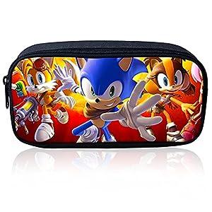 Hilloly Sonic Trousse, Sonic The Hedgehog AniméTrousse Trousse, étui à Crayons étudiant Avec Fermeture à Glissière, Boîte de Rangement de Papeterie de Grande Capacité, pour étudiants, école, Bureau