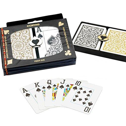 Copag 1546 100% plastique pour Parties de Poker, Jumbo Index Jeu de cartes à jouer Noir & dos doré-Lot de 2