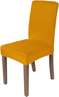 yuexianghui Solid Color Stretch Chair Cover Spandex Fabric Seat Chair Covers Restaurant Hotel Party Banquet Slipcovers Home Decoration Event,Mustard,L Sizes