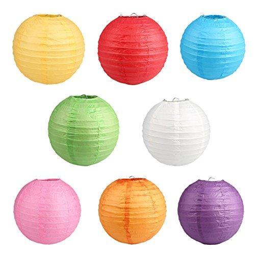 提灯 紙ちょうちん ランタン 丸型 イベント 装飾用 お祭り 屋台 パーティー 8色8個セット (直径 30cm)