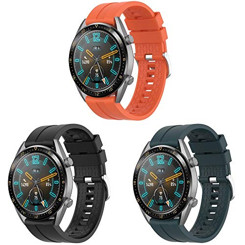 TOPsic Cinturino Huawei Watch GT 2 46mm/Huawei Watch GT Fashion/Sport/Active/Elegant/Classic/Gear S3 Frontier/Galaxy Watch 46mm/S3 Classic, 22mm Braccialetto di Ricambio Easy Fit Silicone Banda
