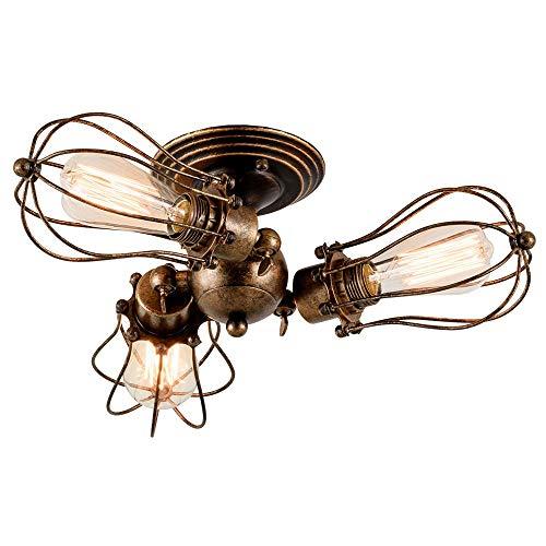 Huahan Haituo industriale Edison retrò Vintage Lampada plafoniera con 1/2/3/4/5 luci Retro parete luce rustico Wall Sconce (oro di spazzamento, 3 luce)