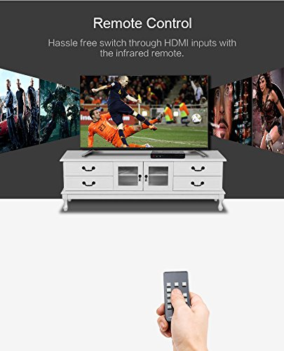 4kx2k Full 3D Tomsenn HDMI 1.4 Switch Switcher Box Selector 3 in 1 Out HDMI Audio Extractor Splitter with Optical SPDIF /& RCA L//R Audio Out /& Remote Control Supports ARC 1080P Ultra HD