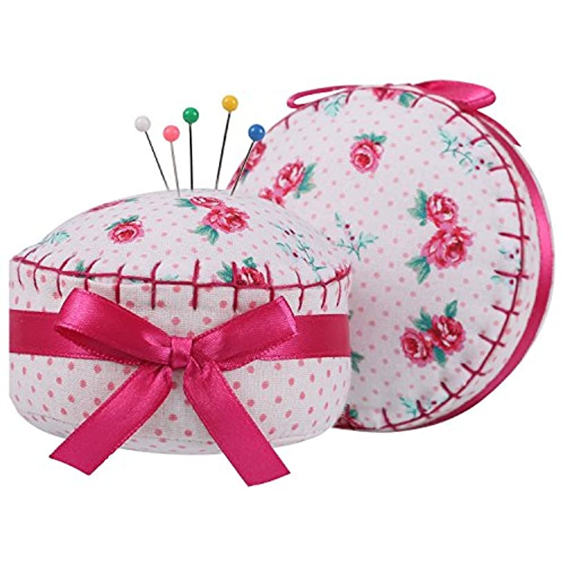 NEOVIVA Fabric Coating Fully Padding Pin Cushions Set of 2 for Sewing and Quilting, Pack of 2, Style Cupcake, Floral Fuchsia Roses