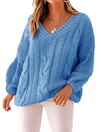 Yidarton Pullover Damen V-Ausschnitt Grobstrick Strickpullover Casual Langarmshirt Sweatshirt Oberteile