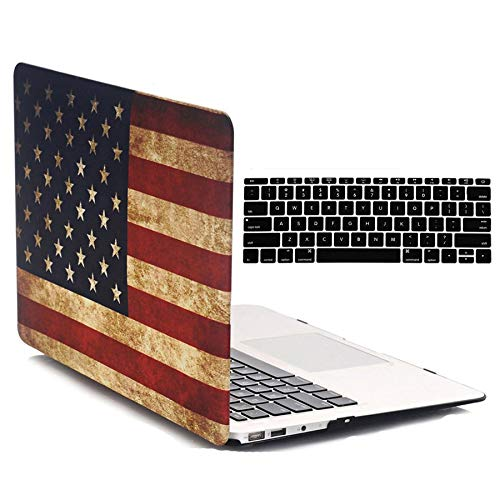 MacBook 11 Air Case A1370 / A1465, iZi Way 2 in 1 Soft Touch Rustic Patriotic Pattern Hard Shell Cover + Black Keyboard Skin Cover for MacBook Air 11 Inch - Retro American Flag