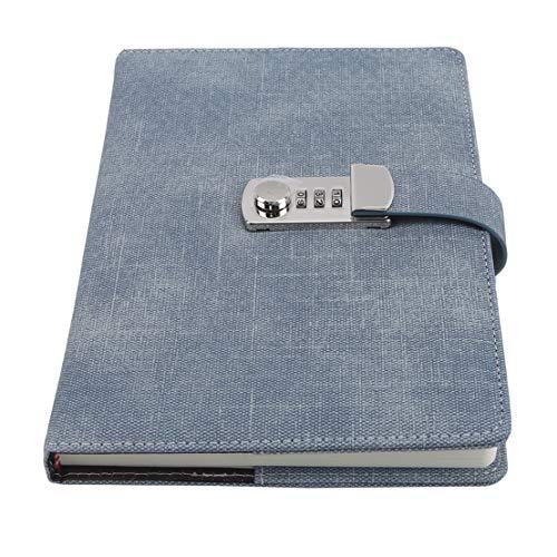 Kissherely Tragbares Passwort Notizbuch Papier abschließbares Büchertagebuch Täglicher Reisender Wochenplaner Schulbriefpapier Geschenke (Denim Blue)