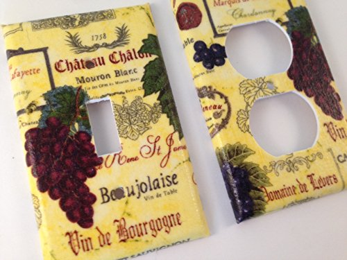 French Wine Grapes Light Switch plate Cover All Sizes Offered