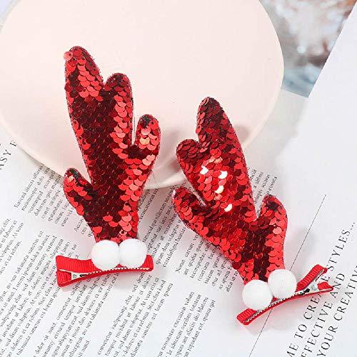 Christmas Headdress Sequin Antler Hairpin Christmas Tree Hairpin elk Clip Duck Bill Clip Headdress 3pcs