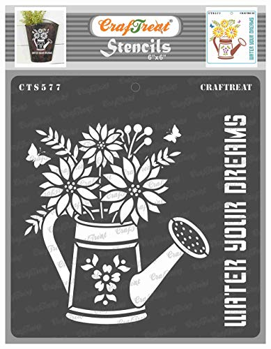 CrafTreat Flower Stencils for Painting on Wood, Canvas, Paper, Fabric, Wall and Tile - Watering Can - 6x6 Inches - Reusable DIY Art and Craft Stencils for Home Decor - Flower Stencils and templates
