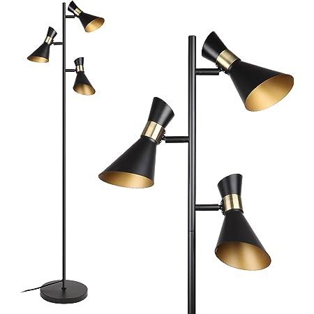 Osasy Moderne Lampadaire pied, Creative lecture / décoration Lampadaire Tree 3 spots pivotants réglable | métal rétro noir/doré ,ampoules E14 LED ou halogène, lampes sur pied hauteur 166,5 cm