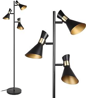 Osasy Moderne Lampadaire pied, Creative lecture / décoration Lampadaire Tree 3 spots pivotants réglable | métal rétro noi...