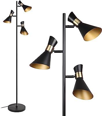 Osasy Lampe de sol moderne à 3 lumières pour intérieur, lampe de lecture réglable, pour la maison, le bureau, la décoration, éclairage à 350 °, 168 lampes sur pied, métal rétro, douille E27, noir/doré