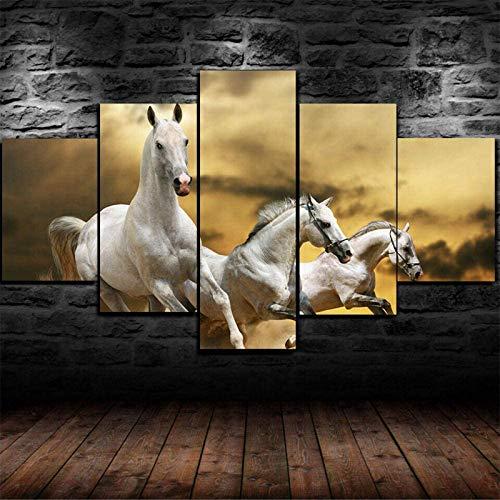 QWEWQE 5 piezas impresiones en lienzo lienzo cuadro modular pared póster caballo carreras galope lienzo arte moderno pared póster