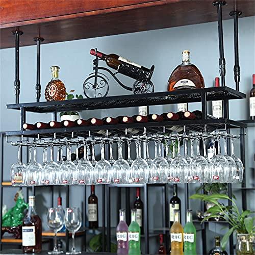 Soportes para copas Estante para colgar en el techo de hierro macizo para vino, para copa de vino, estante para colgar en metal y soporte para copa, para la cocina o el comedor del hogar, organizaci