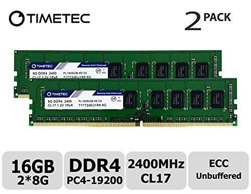 Timetec Hynix IC 16GB KIT (2x8GB) DDR4 2400MHz PC4-19200 Unbuffered ECC 1.2V CL17 1Rx8 Single Rank 288 Pin UDIMM Server Memory RAM Module Upgrade (16GB KIT (2x8GB))