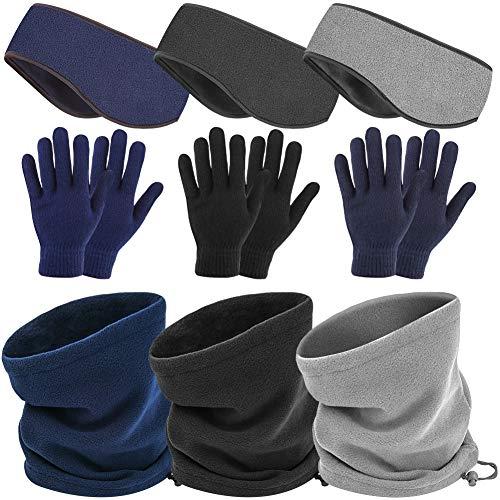 WXJ13 9 STKS Fleece Oorwarmers Hoofdband Winter Hoofdbanden Winter Neck Gaiter Fleece Neck Warmer Warm Winddichte Handschoenen Voor Vrouwen En Mannen Outdoor Sport
