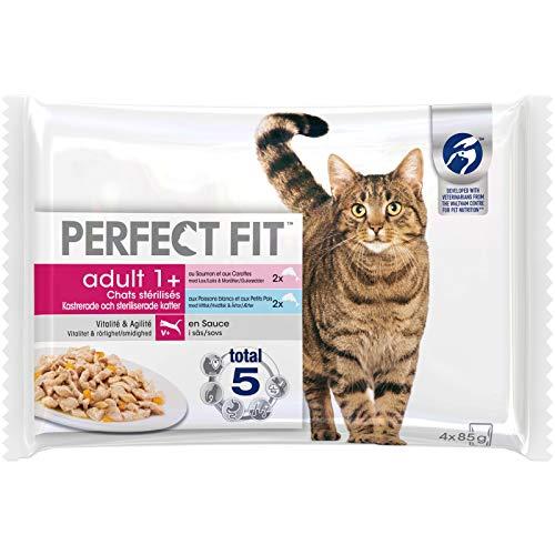 Perfect Fit Sachets fraîcheur pour chat adulte stérilisé, en sauce aux poissons, 52 sachets repas de 85g