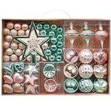 Valery Madelyn 70 Piezas Bolas de Navidad de 3-6 cm, Adornos Navideños para Arbol, Decoración de Navidad Plástico Verde Menta, Rosa, Champán Dorado, Regalos de Colgantes de Navidad (Palacio Elegante)