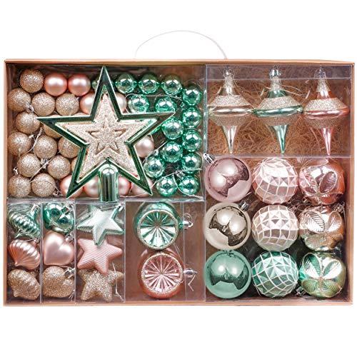 Valery Madelyn Weihnachtskugeln 70tlg 3-17cm Plastik Christbaumkugeln Weihnachtsbaumschmuck mit Weihnachtsbaumspitze und passende Aufhänger Eleganter Palast Thema Mintgrün Rosa Gold MEHRWEG Verpackung