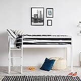 VonHaus Mid Sleeper Bed ? Single Solid Pine Cabin Bed 3ft ? Children?s Bed High Sleeper ? Mattress Not Included