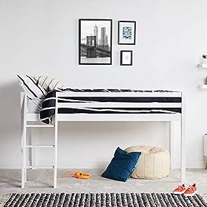 VonHaus Mid Sleeper Bed – Single Solid Pine Cabin Bed 3ft – Children's Bed High Sleeper – Mattress Not Included