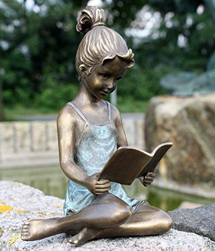 Bronze Bronzefigur Mädchen mit Buch Dekoration Skulptur