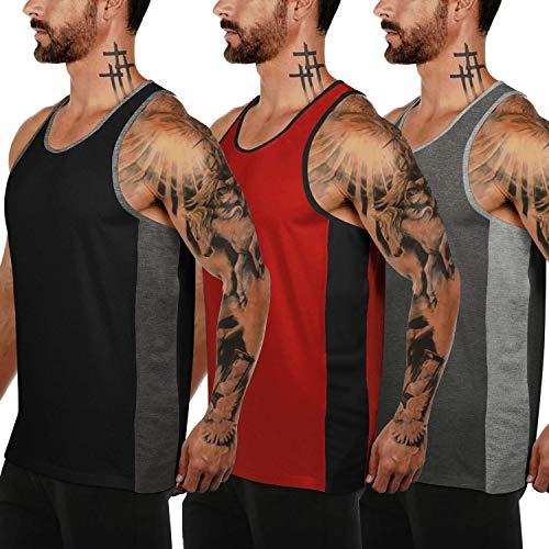 COOFANDY Tank Top Herren Sport Ärmellos Muskel Shirt Gym Fitness Bodybuilding Training 3er Pack