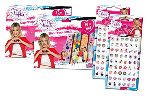 Craze 55534 - Slap Snap Bands und Klebeohrringe, Disney Violetta, je 2 Packungen, sortiert