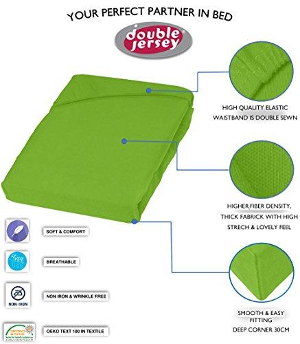 Double Jersey – Spannbettlaken 100% Baumwolle Jersey-Stretch bettlaken, Ultra Weich und Bügelfrei mit bis zu 30cm Stehghöhe, 160x200x30 Lime - 3