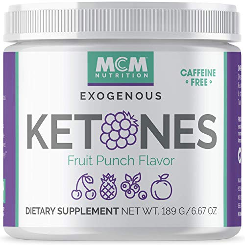 MCM Nutrition - Exogenous Ketones Supplement & BHB - Caffeine Free and Suppresses Appetite - Instant Keto Mix That Puts You into Ketosis Quick & Helps with The Keto Flu (Fruit Punch - 15 Servings)