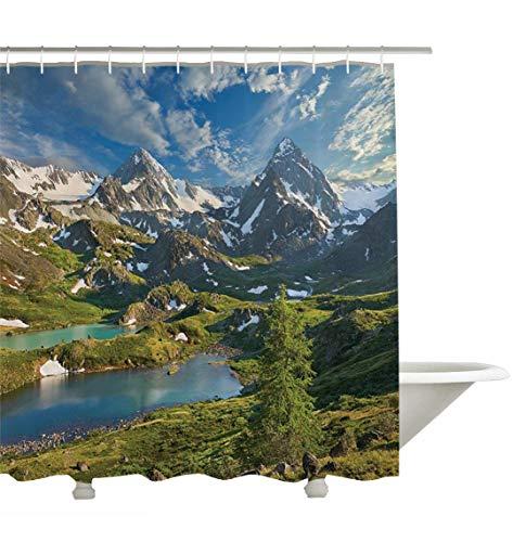 Yeuss Cottage Decor Kollektion, Sibirien Altai-Gebirge, Katun Ridge Hohe schneebedeckte Gipfel mit bedeckten Rockröcken, Bad-Duschvorhang aus Polyestergewebe, grün-blaues Elfenbein