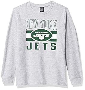 Ultra Game NFL New York Jets Youth Lightweight Active Thermal Long Sleeve Shirt , Team Color, 14/16