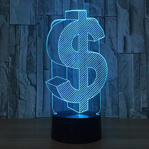 3D-Illusionslampe führte Nachtlicht mit uns Dollar-Symbol USA-Farbe austauschbar mit USB für Innen für Bürodekoration Geschäftsgeschenk für Freunde