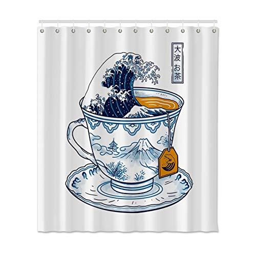 N / A Weißer Duschvorhang im japanischen Stil mit Ocean Wave Bad Polyesterhaken Duschvorhang wasserdicht und schimmelresistent Duschvorhang A1 120x180cm