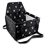 Petbobi Pet Reinforce Car Booster Seat for Dog Cat Portable and Breathable Bag with Seat Belt Dog Carrier Safety Stable for Travel Look Out,with Clip on Leash with PVC Tube (Foot)