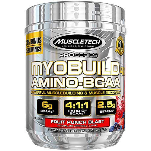 Muscletech Myobuild BCAA Amino Acids Supplement, Muscle Building and Recovery Formula with Betaine & Electrolytes, Fruit Punch Blast, 36 Servings (332g) (FID32549), 11.71 Ounce (Pack of 1)