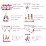 Himeland 90-teilig Einhorn Party-Set Pink Mädchen Einhorn Geburtstag Geschirr Kit für Geburtstagsfeier Kindergeburtstag Baby Shower Party Partygeschirr Teller Becher Strohhalme Tischdecke - 6