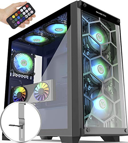 MUSETEX 6 ARGB Fans Honeycomb Airflow 2 × USB 3.0 Mid Tower Case with 2 Tempered Glass Panels Voice Remote Control, PC Gaming Case Computer Chassis Support E-ATX(MU3-MN6)