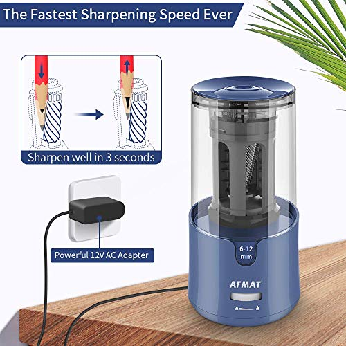 AFMAT Pencil Sharpener, Electric Pencil Sharpener for Colored Pencils, Auto Stop, Fast Sharpen in 3s, Large Hole Pencil Sharpener Plug in for 6-12mm No.2/Jumbo Pencils-Blue Photo #5