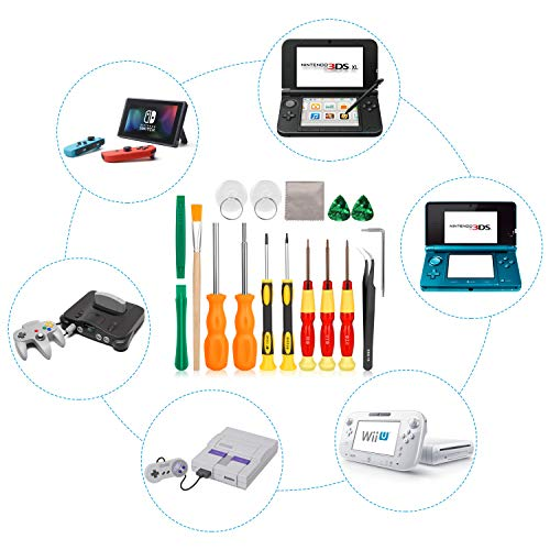 Keten Repair Kit for Nintendo Switch, 17in1 Professional Full Security Screwdriver Game Bit Repair Tool Kit for Nintendo Switch/Nintendo Switch Lite/JoyCon, NES/SNES/GBA