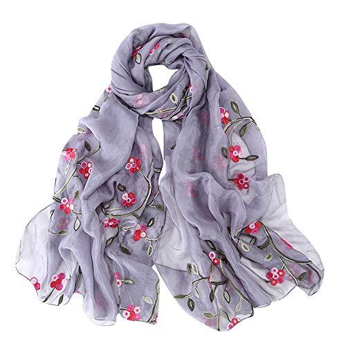Lazzboy Frauen Stickerei Chiffon Schal Hijab Wrap Schals Stirnband Muslim Hijabs Luxus Damen Seidentuch Aufwändig Bedruckt Tuch Harmonische Farben Damentuch(F)