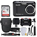 Kodak PIXPRO FZ43 16.15MP Digital Camera with 4X Optical Zoom + SanDisk 16GB Ultra SDHC 80MB/s Memory Card (Class 10) + Point & Shoot Camera Case + Extendable Monopod + Accessories (Black)
